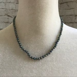"""Jewelry - Black Pearl Necklace 16"""" Silver Clasp"""